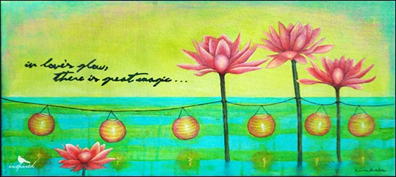 love's, glow, painting, acrylic, water, soluble, crayons, magical, turquoise, green, pink, lotus, sea, lantern