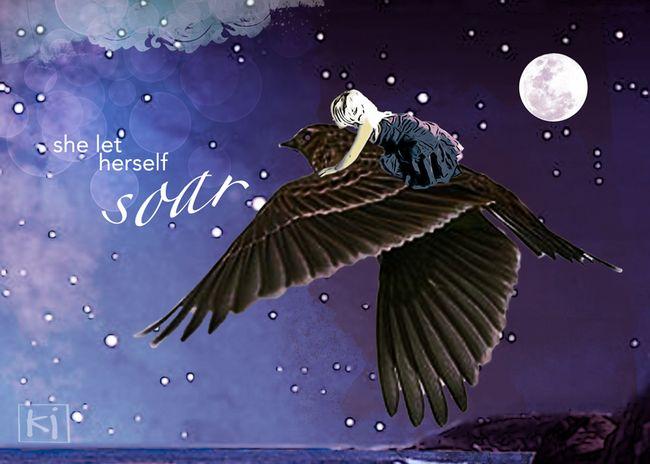 Soar, digital, media, art, night, moon, bird, flying, child