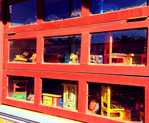Mexican Doll Furniture in Window