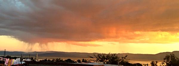 Rain clouds over Lake Chapala